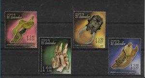 EL SALVADOR 2006 FOSSILS BONES DINOSAURS SET OF 4 VALUES MNH MICHEL 2445-48