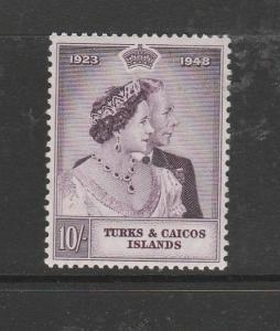 Turks & caicos 1948 Wedding 10/- MM SG 209