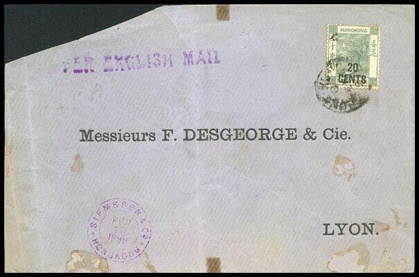 HONG KONG 1899 QV 20c with character on 30c on cover to France.............91685