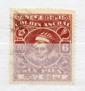 India Cochin 1943 Early Issue used Shade of 6p. NW-16020