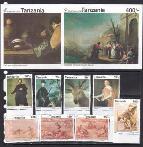 Tanzania 1992 Velasques spanish paintings art 8v+2s/s MNH