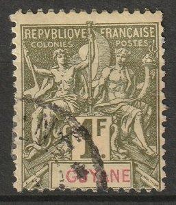 French Guiana 1892 Sc 49 used small thin