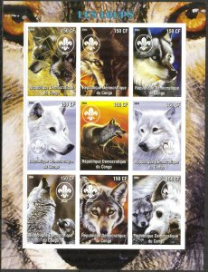 Congo 2004 Wolves Sheet of 9 Imperf. MNH Cinderella !