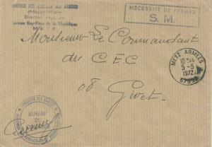 France Military Free Mail 1972 Metz Armees, 57996 to Givet with Ministere des...