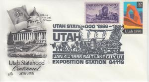 1996 Utah Centennial Salt Lake UT Pictorial Artcraft FDOI