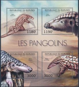 Burundi MNH S/S Pangolins Wildlife 2012 4 Stamps