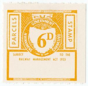 (I.B) Australia - Tasmania Railways : Parcels Stamp 6d