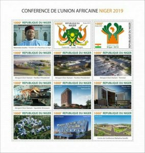 Niger - 2019 African Union Conference Niger - 12 Stamp Sheet - NIGLC190101a