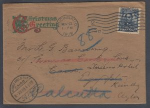 US Sc 304 1904 cover from Cincinnati to Egypt, Ceylon and India