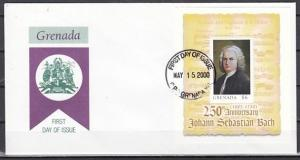 Grenada, Scott cat. 2954. Composer J. S. Bach s/sheet. First Day Cover.