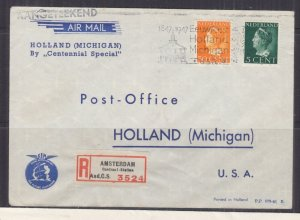 NETHERLANDS, 1947 KLM Reg.  Centennial Special  Airmail cover to Holland, Mich