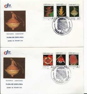 COSTA RICA 1989 FLOWERS FLORA 6 VALUES O 2 FIRST DAY COVERS SPECIAL POSTMARK