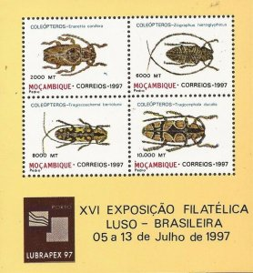 Mozambique - 1997 Insects Beetles - 4 Stamp Souvenir Sheet - Scott #1291a