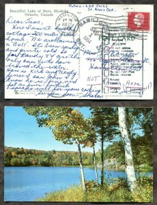4543 - HAMILTON STATION 1964 CDS on Muskoka Postcard. RETURN TO SENDER