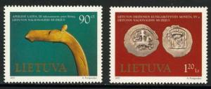 Lithuania 579-80 MNH Museum Art, Coins on Stamps