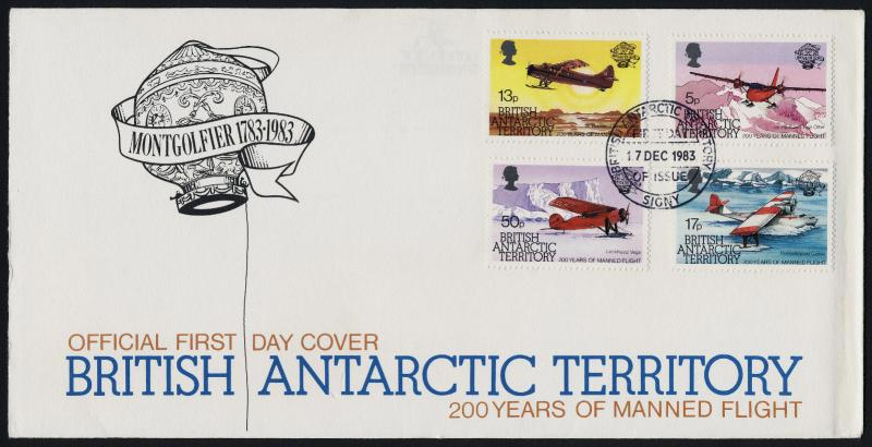 British Antarctic Territory 117-20 on FDC - Aircraft