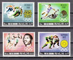 Ras Al Khaima, Mi cat. 312-315 A. Olympics & Soccer issue. ^