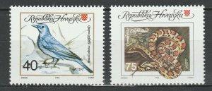 Croatia 1992 Fauna Birds Snakes 2 MNH stamps