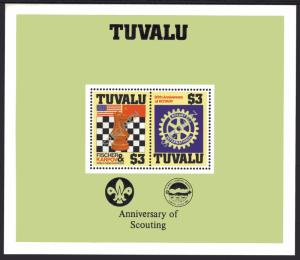 Tuvalu 1986 Sc#352  Chess/Rotary/Scouts/Flags S/S PLAIN BORDER PERF.SPECIMEN MNH