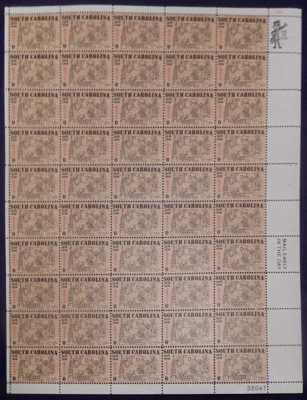 MALACK 1407 6c South Carolina Founding Tercen., F-VF..MORE.. sheet1407