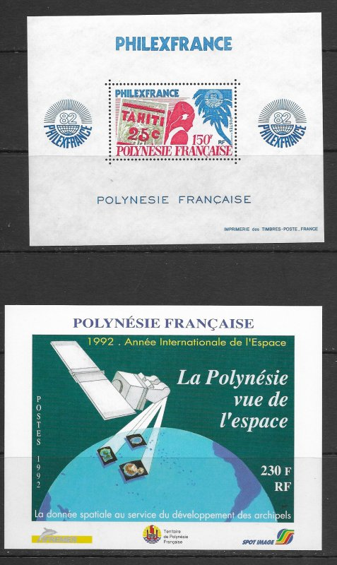 French Polynesia. 361a, 590, 593 MNH S/S,. vf see desc. 2020 CV$22.00