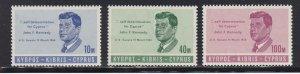 Cyprus # 251-253 & 253a, John F. Kennedy, Set & Souvenir Sheets, NH, 1/2 Cat