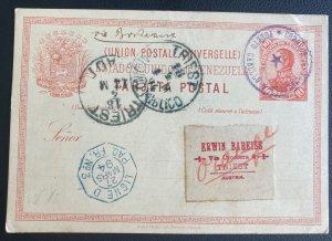1894 Puerto Cabello Venezuela Postal Stationery Postcard Cover To Truest Austria