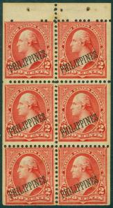 EDW1949SELL : PHILIPPINES 1899 Scott #214b Bklt pane. Mint, Very Fresh Cat $250
