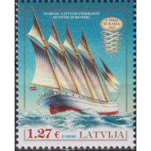 Latvia 2021 History of Navigation - Four-Mast Motor-Sailing Ship Eurasia  (MNH