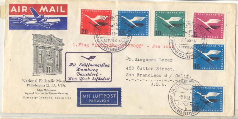 Germany 1955 air email set + will extras one special flight