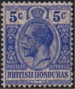 British Honduras 1915 5c bright blue MH