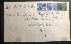 1948 Penang Malaya Airmail Commercial Cover To Rubber Co New York USA B