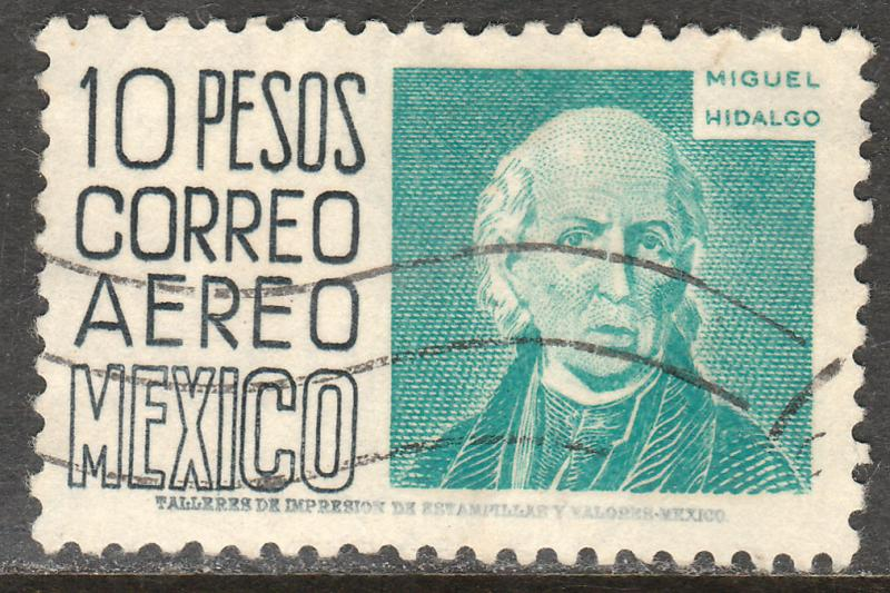 MEXICO C216, $10P 1950 DEFINITIVE 2nd ISSUE, HORIZ WMK (300) USED F-VF. (871)