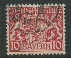 Bavaria -Scott O10- Coat of Arms -1916-17 - Used - 10pf Stamp