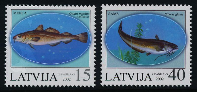 Latvia 555-6 MNH Fish