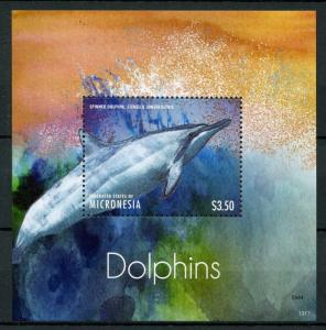 Micronesia Marine Mammals Stamps 2013 MNH Dolphins Spinner Dolphin 1v S/S