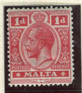MALTA; 1914 early GV issue fine Mint hinged Shade of 1d. value