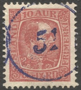 ICELAND 1902  10a  Used VF, violet Numeral Cancel 51