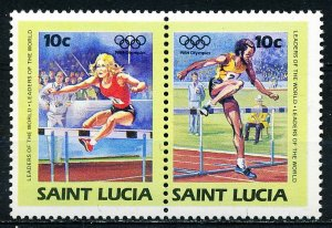 St. Lucia MNH 66 setenant 1984 Olympics