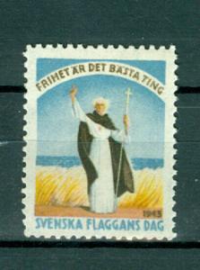 Sweden Poster Stamp Mnh.1943. National Day June 6. Swedish Flag,