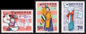 Korea (South) #555-557 set/3 mnh - 1967 Folklore Series - dance
