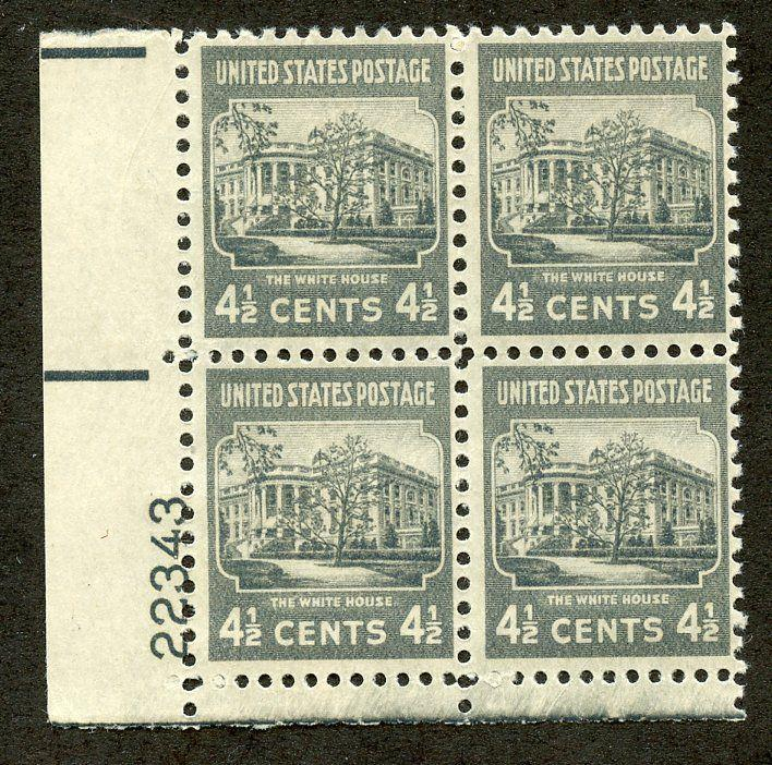 U.S. Scott 809 4.5-Cent Prexie/Prexy MNH Electric Eye Plate Block
