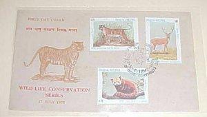 NEPAL FDC WILDLIFE CONSERVATION 1975 TIGER CACHET UNADDRESSED