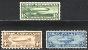 U.S. #C13-15 CHOICE Mint XF/SUP NH Set - 1930 Graf Zeppelins