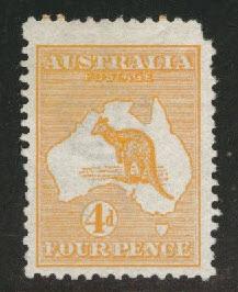 Australia Scott 6 MH* Kangaroo & Map 1913 CV$150 corner clip