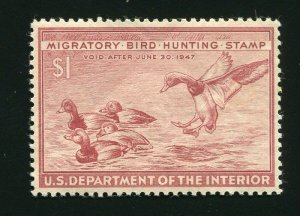 RW13 Redhead Ducks 1947 US Federal Duck Stamp MNH Natural Gum Line