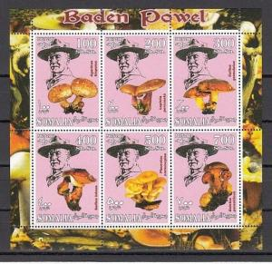 Somalia, 2001 Cinderella issue. Mushrooms & Scout Founder, sheet of 6.