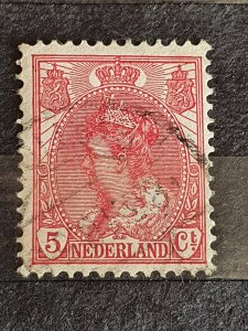Netherlands 1899 Queen Wihelmina 5 C Rose Used #104