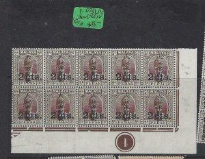 MALAYA JAPANESE OCC  PERAK (P2404B) KANJI  2C/5C  SG J273 LR CORNER PL BL 10 MNH