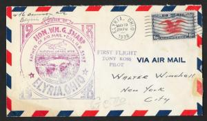 UNITED STATES First Flight Cover 1938 Elyria